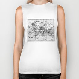 World Map (1899) White & Black Biker Tank