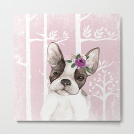 Animals in Forest - The little French Bulldog Metal Print
