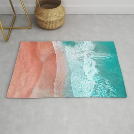 The Break - Turquoise Sea Pastel Pink Beach II Rug