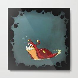Toothy Slug - Red Metal Print