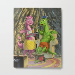dragon family relaxing in front of the TV Metal Print