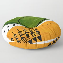 Modern Mid Century Fun Colorful Abstract Minimalist Painting Olive Green Yellow Ochre Buns Floor Pillow