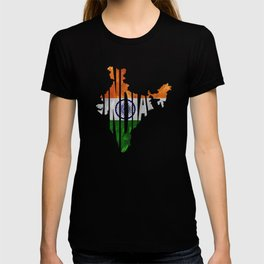 India World Map / Indian Typography Flag Map Art T-shirt