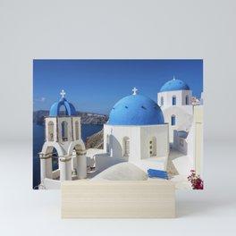 Santorini, Oia Village, Blue and White Church Mini Art Print