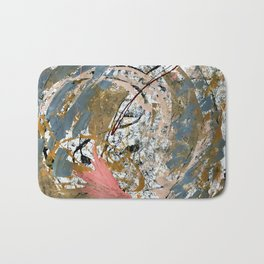 Symphony [2]: colorful abstract piece in gray, brown, pink, black and white Bath Mat