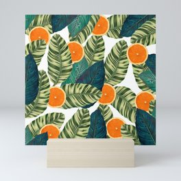 Oranges And Green Leaves Pop Mini Art Print
