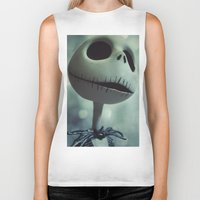nightmare before christmas Biker Tanks featuring Jack Skellington (Nightmare Before Christmas) by LT-Arts