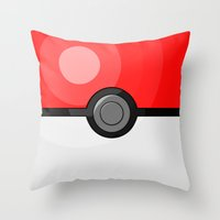 pokeball Throw Pillows featuring Classic Pokeball by Amandazzling