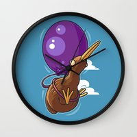houston Wall Clocks featuring Houston, We Have Kiwi by Artistic Dyslexia