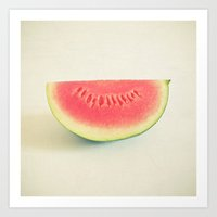 watermelon Art Prints featuring Watermelon by Cassia Beck