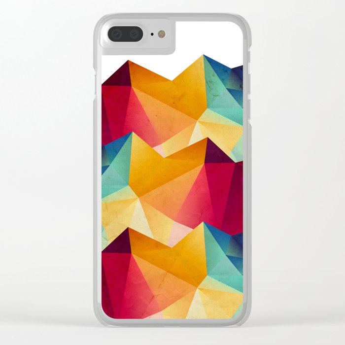 geometric color mountains Clear iPhone Case