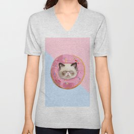 Persian Cat Strawberry Donut Unisex V-Neck
