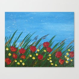 poppies poppy wildflowers red field grass flowers palette knife design designs poppys Canvas Print