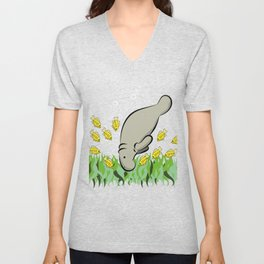 Manatee and fish Unisex V-Neck