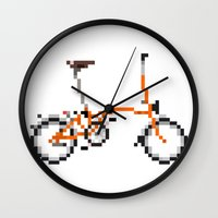 brompton Wall Clocks featuring Pixel Art Brompton bicycle - Orange by PixelArtM
