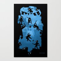 ass Canvas Prints featuring Ninja Kick Ass Clash by Anna-Maria Jung