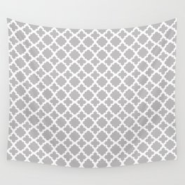 Lattice Gray on White Wall Tapestry