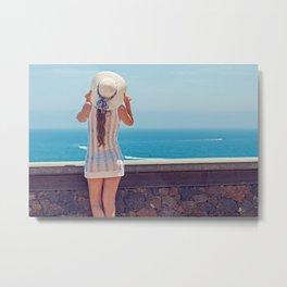 Summer Holiday Vibes / Woman & Ocean Metal Print