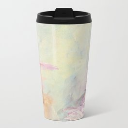WINTER DREAMLAND 1 Colorful Pastel Aqua Marsala Burgundy Cream Nature Sea Abstract Acrylic Painting  Travel Mug