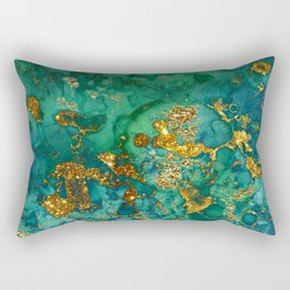 Malachite and Gold Glitter Stone Ink Abstract Gem Glamour Marble Rectangular Pillow