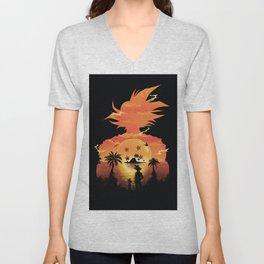 Goku Sunset Unisex V-Neck