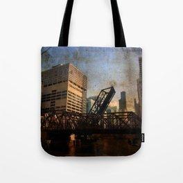 Chicago Skyline Chicago River Drawbridge Tote Bag