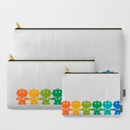 Rainbow Robots Holding Hands Carry-All Pouch