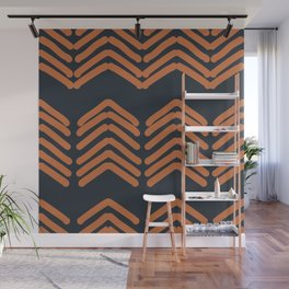 Zora's Chevron Pattern - Copper on Navy Wall Mural