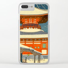 Asano Takeji Japanese Woodblock Print Vintage Mid Century Art Winter Red Shinto Shrine Snow Pagoda Clear iPhone Case