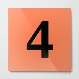 4 (BLACK & CORAL NUMBERS) Metal Print