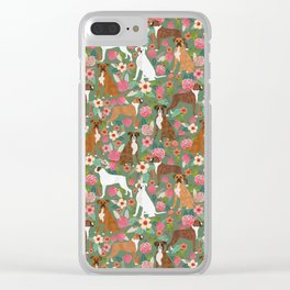 Boxer mixed coats dog breed florals pet gifts for boxers pupper must haves Clear iPhone Case
