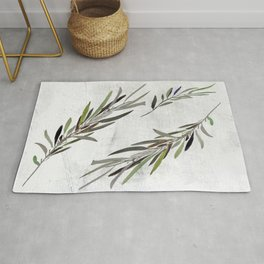 Eucalyptus Leaves White Rug