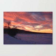 Wintry Sunset over the Porkies Canvas Print