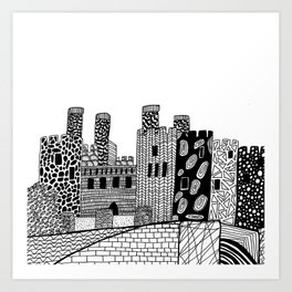 Wales Conwy Castle Patterned Illustration Art Print