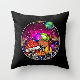 Psychedelic Magic Mushrooms Fungi Frog Throw Pillow