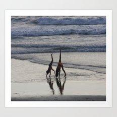 Girls on the beach Art Print