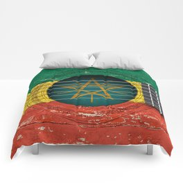 Old Vintage Acoustic Guitar with Ethiopian Flag Comforters