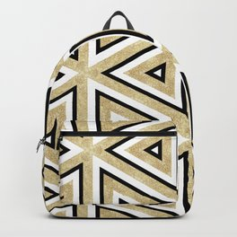 Gold Glitter and Black Geomeric Pattern Backpack