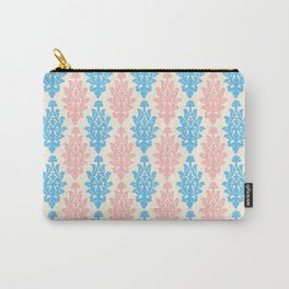 Pastel pink blue vintage chic floral damask pattern Carry-All Pouch