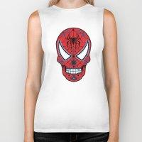 superheros Biker Tanks featuring Spidey Sugar Skull by Clark Street Press