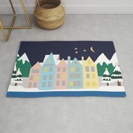 Winter row of pastel houses Rug