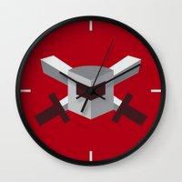 tomb raider Wall Clocks featuring SSG - Raider by ClaunchDesign