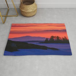 Sunset in winter with red sky Rug