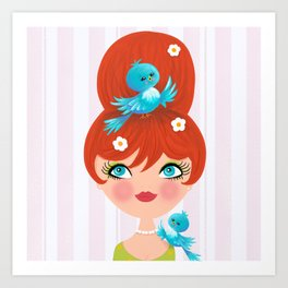 Bluebirds Alight On A Lovely Lady Art Print