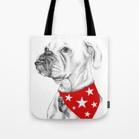 boxer Tote Bags featuring Boxer by Natasha Maiklem