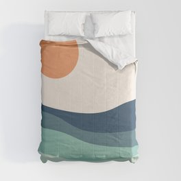 Abstract landscape with sea and sun Comforters