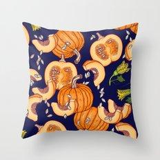 Pumpkin night life Pattern Throw Pillow