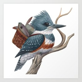 Kingfisher with Lunch Art Print