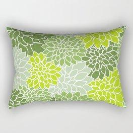 Dahlia Flowers, Petals, Blossoms - Green White Rectangular Pillow
