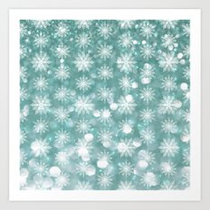 Holiday Teal and Flurries Art Print